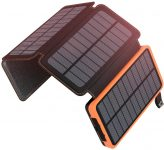 A ADDTOP Chargeur Solaire 25000mAh Portable Batterie Externe avec 4 Panneaux