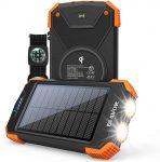 BLAVOR Batterie Externe Solaire 10000mAh Chargeur Portable avec Panneau Solaire,