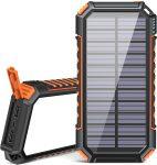 Chargeur Solaire 26800mAh, Riapow Batterie Externe Solaire avec 60 LEDs Brillantes